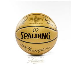 "Kevin Durant Signed Warriors LE 2017 NBA Finals Champions Gold Logo Basketball Inscribed ""17 NBA Cha"