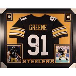 Kevin Greene Signed 35x43 Custom Framed Jersey (JSA COA)