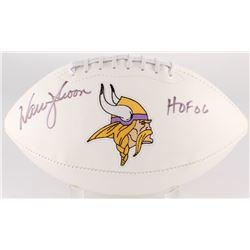 "Warren Moon Signed Vikings Logo Football Inscribed ""HOF 06"" (JSA COA)"