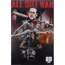 """Jeffrey Dean Morgan  Norman Reedus Signed The Walking Dead """"All Out War"""" 24x36 Poster Inscribed """"Neg"""