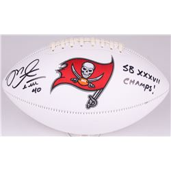 "Mike Alstott Signed Buccaneers Logo Football Inscribed ""SB XXXVII Champs!"" (Radtke COA)"