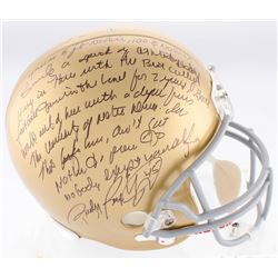 Rudy Ruettiger Signed Notre Dame Fighting Irish Full Size Helmet With Extensive Inscription (JSA COA