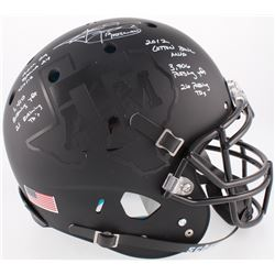 Johnny Manziel Signed  Texas AM Aggies Custom Matte Black Full-Size Authentic On-Field Helmet With M