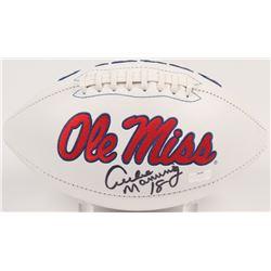 Archie Manning Signed Ole Miss Rebels Logo Football (Radtke Hologram)