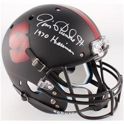 "Jim Plunkett Signed Stanford Cardinal Black Full-Size Custom Matte Helmet Inscribed ""1970 Heisman"" ("