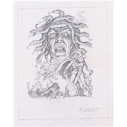 "Greg Hildebrandt Signed 1981 ""Clash of the Titans"" 13x16.5 Original Sketch (PA LOA)"