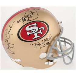 "Dwight Clark Signed 49ers Full-Size Helmet with Hand-Drawn Play Inscribed ""The Catch""  ""1.10.82,"" (J"