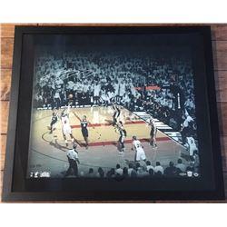 LeBron James Signed Heat 24x28 Custom Framed Photo (UDA COA)