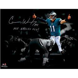 """Carson Wentz Signed Eagles 11x14 Photo Inscribed """"AO1""""  """"Fly Eagles Fly!"""" (Fanatics Hologram)"""