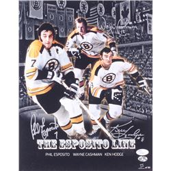 Phil Esposito, Wayne Cashman,  Ken Hodge Signed Bruins LE 11x14 Photo (JSA Hologram  Sure Shot Promo