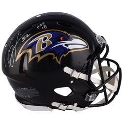"""Ray Lewis Signed Ravens Full-Size Authentic On-Field Speed Helmet Inscribed """"HOF 18"""" (Fanatics Holog"""