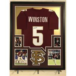 Jameis Winston Signed 34x42 Custom Framed Jersey Display (JSA COA)