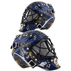 """Martin Brodeur Signed Blues Mini Goalie Mask Inscribed """"HOF 2018"""" (Fanatics Hologram)"""