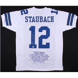 "Roger Staubach Signed  Career Highlights Stats Jersey Inscribed ""HOF 91"" (JSA COA)"