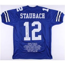 Roger Staubach Signed Career Highlight Stat Jersey (JSA COA)