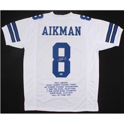 Troy Aikman Signed Career Highlight Stat Jersey (Beckett COA)