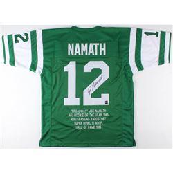 Joe Namath Signed Career Highlight Stat Jersey (AI Verified COA  Namath Hologram)
