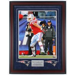 Rob Gronkowski Signed Patriots 23.5x30.25 Custom Framed Photo Display (JSA COA)