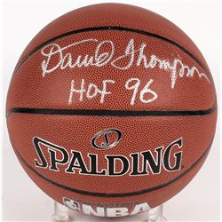 "David Thompson Signed NBA Basketball Inscribed ""HOF 96"" (PSA COA)"