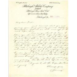 Barney Dreyfuss Signed Handwritten Letter (JSA LOA)