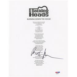 "David Byrne Signed ""The Talking Heads"" 8x10 Lyric Sheet (PSA COA)"
