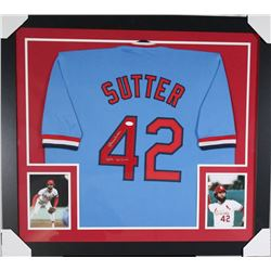 "Bruce Sutter Signed 31x35 Custom Framed Jersey Inscribed ""HOF 06""  ""300 Saves"" (JSA COA)"