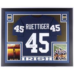 """Rudy Ruettiger Signed 35x43 Custom Framed Jersey Inscribed """"Never Quit"""" (JSA COA)"""
