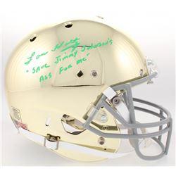 "Lou Holtz Signed Notre Dame Fighting Irish Custom Gold Chrome Full-Size Helmet Inscribed ""Save Jimmy"