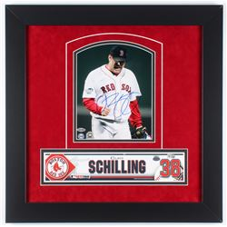 Curt Schilling Signed Red Sox 2004 World Series 21.5x21.5 Custom Framed Photo Display with Authentic
