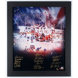 """LE Team USA """"Miracle on Ice"""" 23.5x27.5 Custom Framed Photo Display Signed by (16) with Mike Eruzione"""