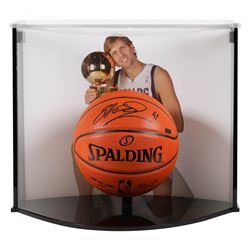 Dirk Nowitzki Signed Spurs NBA Official Game Ball Series Basketball With Curve Display Case (Panini