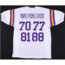 """Purple People Eaters"" Jersey Signed by (4) with Alan Page, Gary Larsen, Carl Eller,  Jim Marshall ("