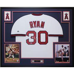 Nolan Ryan Signed 35x43 Custom Framed Jersey Display (Beckett COA  Ryan Hologram)