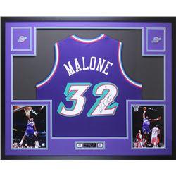 Karl Malone Signed 35x43 Custom Framed Jersey Display (Beckett COA)