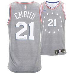 """Joel Embiid Signed 76ers Nike City Edition Jersey inscribed """"The Process"""" (Fanatics Hologram)"""