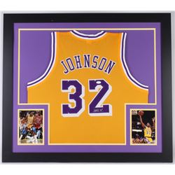 Magic Johnson Signed 31x35 Custom Framed Jersey (JSA COA)