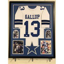Michael Gallup Signed 34x42 Custom Framed Jersey Display (JSA COA)
