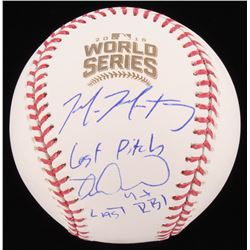 "Mike Montgomery  Miguel Montero Signed 2016 World Series Baseball Inscribed ""Last Pitch""  ""Last RBI"""