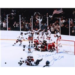 """Jim Craig Signed Team USA 16x20 Photo Inscribed """"Do You Believe In Miracles?"""" (Steiner COA)"""
