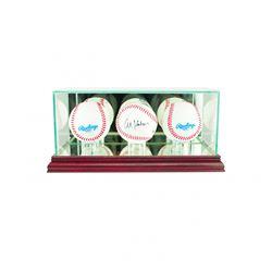 Premium Triple Baseball Display Case with Mirrored Cherry Wood Base  Mirrored Back