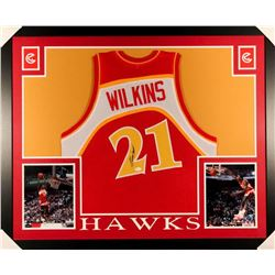 Dominique Wilkins Signed 35x43 Custom Framed Jersey (JSA COA)