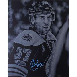 Patrice Bergeron Signed Boston Bruin 20x24 Metal Photo Cut Display (Bergeron Hologram)