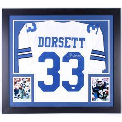 Tony Dorsett Signed 31x35 Custom Framed Jersey (JSA COA)
