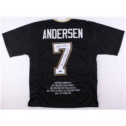 "Morten Andersen Signed Career Highlight Stat Jersey Inscribed ""Hall of Fame 2017"" (Radtke COA)"