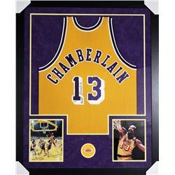 Wilt Chamberlain Signed 43x53 Custom Framed Jersey (PSA Hologram)