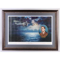 "Charles Lindbergh LE ""50th Anniversary Commemorative Print"" 31x43 Custom Framed Print Display (PA LO"