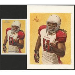 Lot of (2) Larry Fitzgerald Topps with 2009 National Chicle Mini Artist Proof Artist Signature #80
