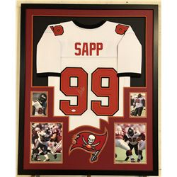 Warren Sapp Signed 34x42 Custom Framed Jersey (JSA COA)