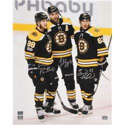 Patrice Bergeron, Brad Marchand  David Pastrnak Signed Boston Bruins 16x20 Photo (Bergeron, Marchand