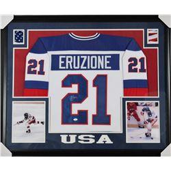 Mike Eruzione Signed 31x35 Custom Framed Jersey (JSA COA)